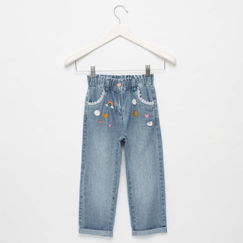 Embroidered Jeans with Lace Detail and Pockets