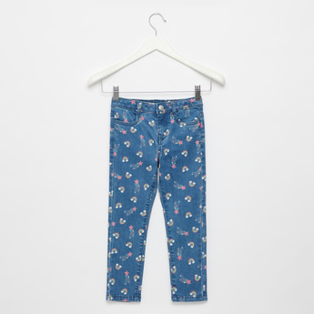 Star and Rainbow Print Jeans with Pockets and Button Closure