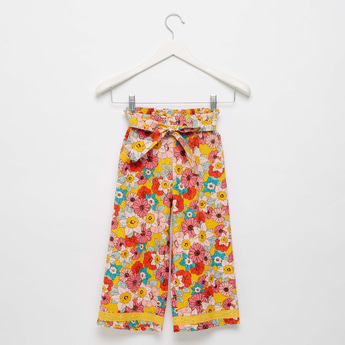 Floral Print Wide Leg Culottes with Elasticated Waistband and Tie-Up