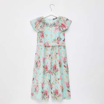 All-Over Floral Print Jumpsuit with Pleat Detail and Cap Sleeves
