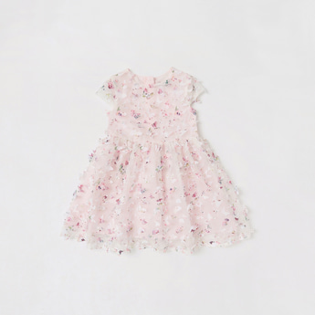 Butterfly Applique Detailed Knee Length Dress with Cap Sleeves