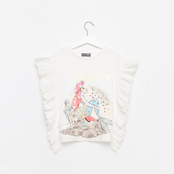 Ariel Embellished Print Sleeveless T-shirt with Ruffle Detail