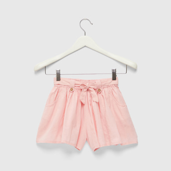Solid Shorts with Pleats and Belt