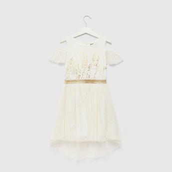 Disney Princess Foil Print Round Neck Dress with Cold Shoulder Sleeves