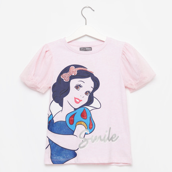 Snow White Print T-shirt with Round Neck and Short Sleeves