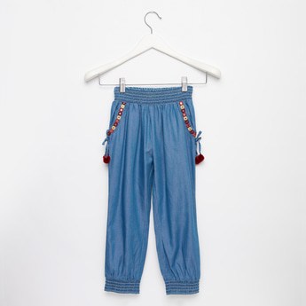 Embroidered Full Length Pants with Elasticated Waistband and Pockets