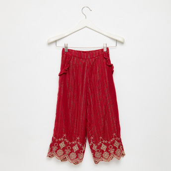 Textured Culottes with Embroidered Hem and Ruffles