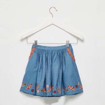 Embroidered A-Line Denim Skirt with Elasticised Waistband