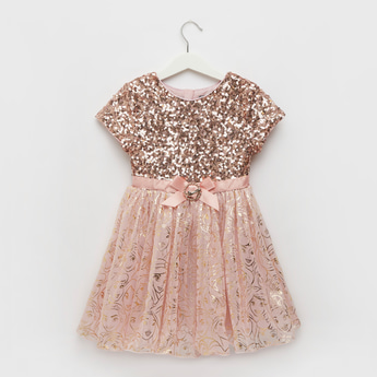 Sequin Embellished Round Neck Princess Dress with Cap Sleeves
