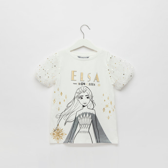 Elsa Print Round Neck T-shirt with Embellished Mesh Sleeves