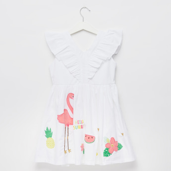 Flamingo Embroidered Sleeveless Dress with V-Neck and Frill Detail