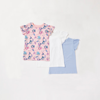 Pack of 3 - Assorted T-shirt with Round Neck and Cap Sleeves