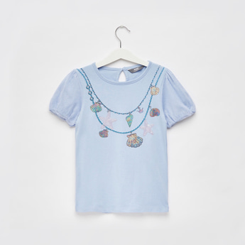 Graphic Print T-shirt with Round Neck and Puff Sleeves