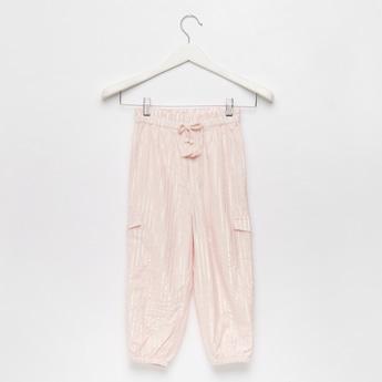 Lurex Striped Pocket Detail Harem Pants with Tassel Accent