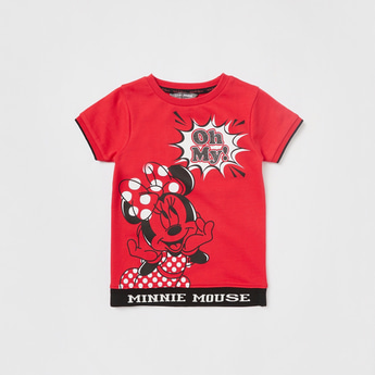 Mickey Mouse Print Sweatshirt with Round Neck and Short Sleeves
