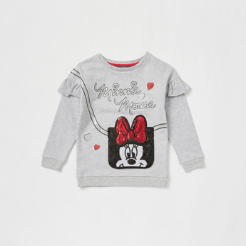 Minnie Mouse Embellished Sweatshirt with Round Neck and Long Sleeves