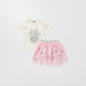 Minnie Mouse Themed Round Neck T-shirt and Mesh Skirt