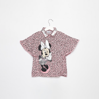 Minnie Mouse Print Shirt with Embellished Collar and Ruffle Detail