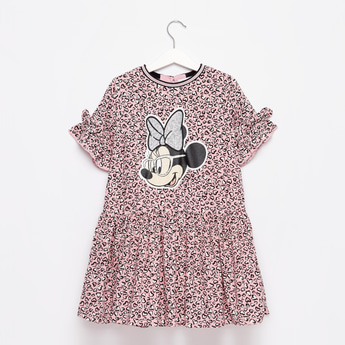 Sequin Embellished Minnie Mouse Print Dress with Bow Detail Sleeves