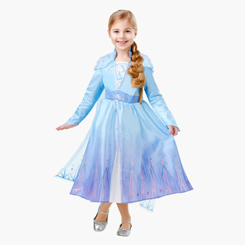 Princess Elsa Themed Maxi Dress with Stylized Shoulders