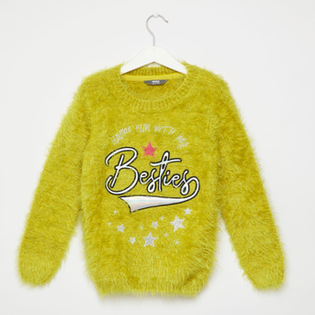 Besties Slogan Embroidered Round Neck Sweater with Long Sleeves