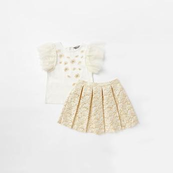 Ruffled Cap Sleeves Top and Jacquard Textured Skirt Set