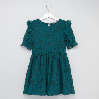 Lace Detail Round Neck Knee Length Dress with Short Puff Sleeves