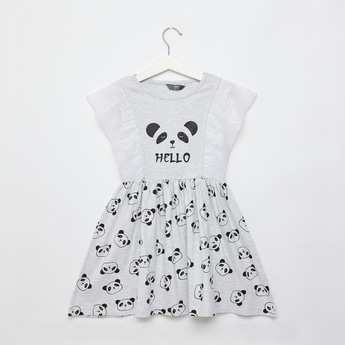 Panda Print Dress with Sequin Detail and Cap Sleeves