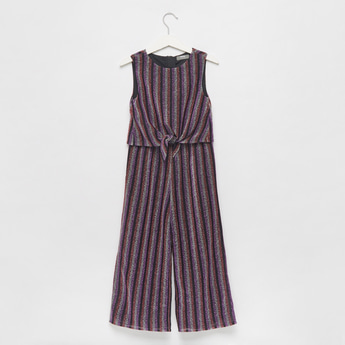 Striped Sleeveless Jumpsuit with Round Neck and Tie-Ups