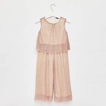 Glitter Accent Sleeveless Jumpsuit with Round Neck
