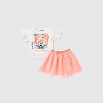 Embellished T-shirt with Short Sleeves and Tutu Skirt Set