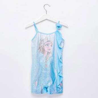 Frozen Elsa Embellished Swimuit with Knot Detail and Adjustable Straps