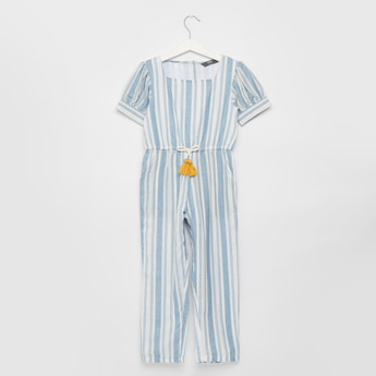Striped Jumpsuit with Short Sleeves and Tie-Ups