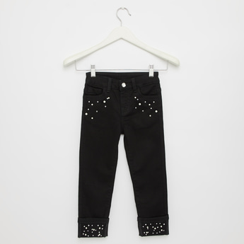 Pearl Embellished Full Length Jeans with 5-Pockets