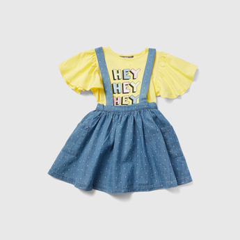Graphic Print T-shirt and Cross Straps Pinafore Set