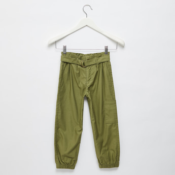 Solid Pants with Pocket Detail and Belt