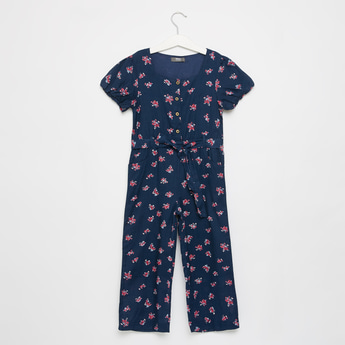 Floral Print Round Neck jumpsuit with Tie-Up Detail