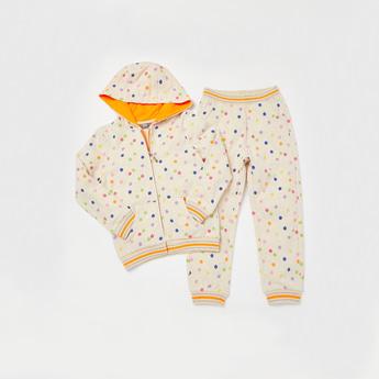 All-Over Spot Print Long Sleeves Jacket with Full Length Jog Pants Set