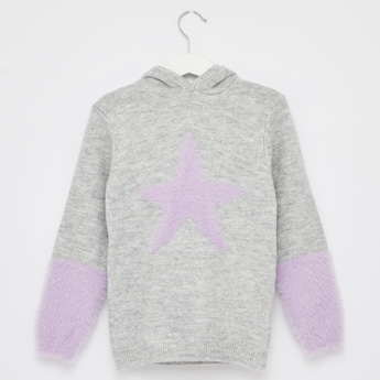 Textured Star Applique Sweater with Long Sleeves and Hood
