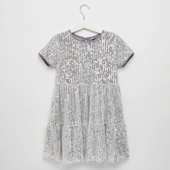 Sequin Tiered Dress with Round Neck and Short Sleeves