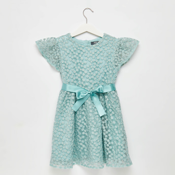 Floral Embroidery Dress with Belt Detail and Zip Closure