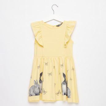 Printed Knee-Length Sleeveless Dress with Ruffle Detail
