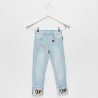 Hello Kitty Embellished Jeans with Keychain Applique