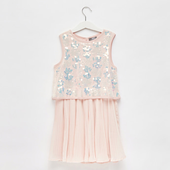 Sequin 2-in-1 Dress with Keyhole Closure
