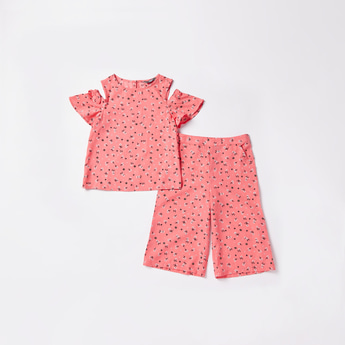 Floral Print Short Sleeves Top and Culotte Set