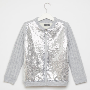 Sequin Embellished Round Neck Bomber Sweater with Long Sleeves