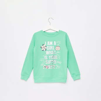 Slogan Print Sweatshirt with Round Neck and Long Sleeves