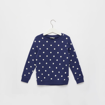 All-Over Polka Dot Print Sweat Top with Round Neck and Long Sleeves