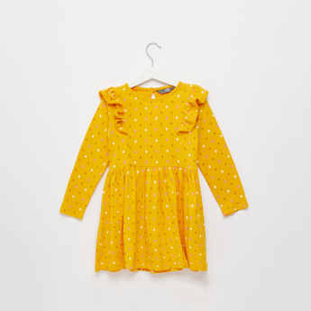 All-Over Scatter Dots Dress with Long Sleeves and Frill Detail