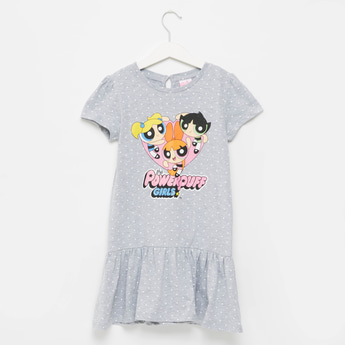 The Power Puff Girls Print Dress with Cap Sleeves and Tiered Hem
